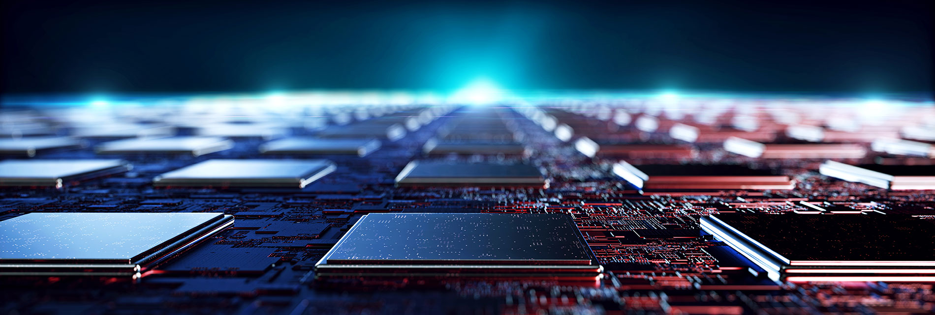 Hundreds of microchip processors aligned together