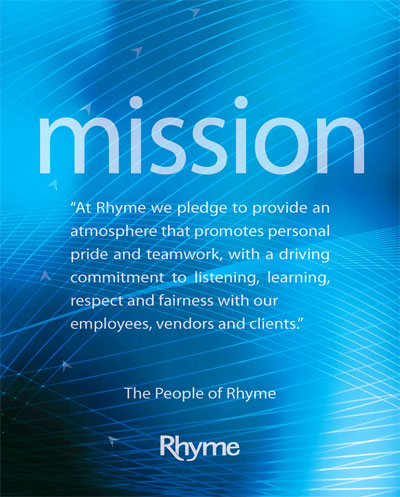 The Rhyme Mission statement on a blue background